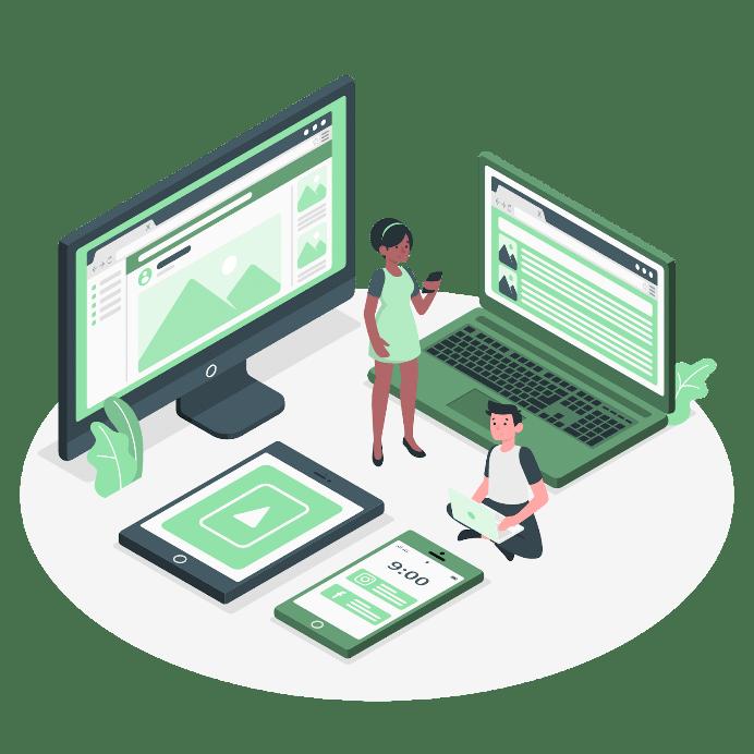 Illustrasjon som viser en mann og en dame sammen med PC-skjerm, mobil, laptop og nettbrett